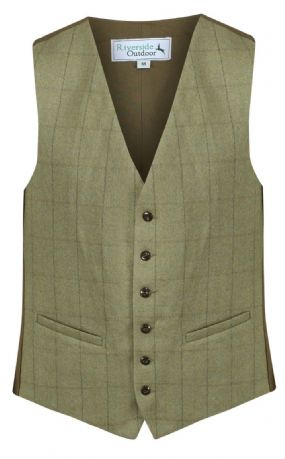 MENS 100% WOOL Kensington Green TWEED Check Waistcoat Quality Herringbone Vest